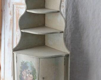 French corner curio shelf - painted Victorian scene