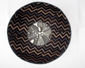 Man Cave Zig Zags fabric bowl black blue tan chevrons