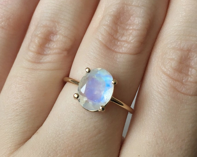 Oval faceted rainbow moonstone ring in 14k gold - yellow gold, white gold, rose gold - moonstone engagement ring - 14k gold moonstone ring