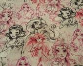 Disney Princess Sketch fabric 1 yd NEW