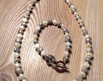 Pearl Necklace Ivory and Grey Fresh Water Pearls with toggle clasp UK made