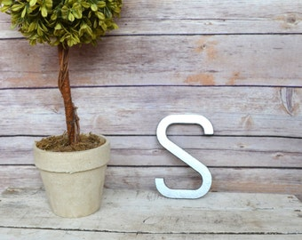 Cast Iron Metal Letter wall art decor vintage style You Pick Alphabet Initial Monogram Painted Silver