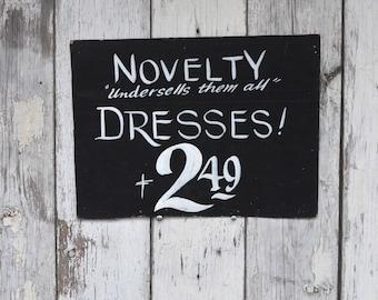 Vintage Retro 1940s Dress Shop sign ephemera cardboard Black Hand painted store window