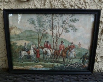 Fox Hunt Print, Carle Vernet, Signed, Framed. Vintage Antique 1800s. Hand Colored. Horses, Riders, Dogs, Hounds, Birch Trees. Hunting Scene.
