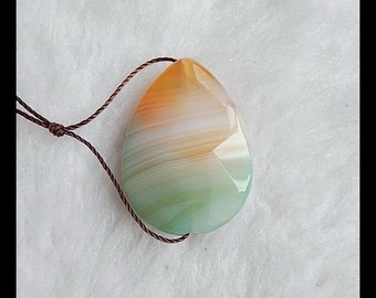 Faceted Agate  Pendant Bead,30x22x7mm,6.4g