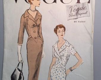50s Vogue Paris Original Dress Pattern 1326 - PATOU - Bust 36 - UNUSED - Woven Label