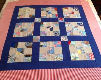 Vintage Unfinished Quilt, table topper, table top quilt, unfinished quilt top