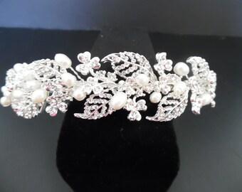 Priced to Sell: Freshwater Pearl &  Rhinestone Bridal Headpiece, Wedding Headpiece, Bridal Headband Wedding Hair Accessory