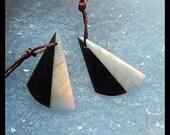 Labradorite,Obsidian Intarsia Gemstone Earring Bead,26x17x4mm,3.66g