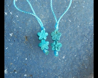 Carved Turquoise Flower Earring Beads,6x4mm,0.9g