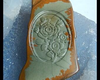 Carved US Biggs Picture Jasper Flower Pendant Bead,68x41x6mm,29.2g