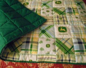 """Handmade Baby Quilt-John Deere Fabric- Infant Baby Size  Quilt Comforter  40 """" x  36 ''"""