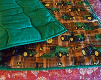 Handmade Baby Quilt- Brown  Plaid Patch  Handmade Baby Infant  Size Quilt  Comforter 40 x 36