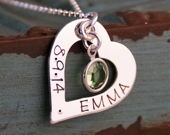 Personalized Hand Stamped Heart - Sterling Silver Heart Washer Necklace - Love Heart with Birthstone (Name and Date)