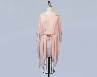 RESERVED 1920s Tunic / 20s Pink Silk Oversized Boxy Blouse / Minimalist