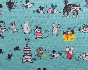 Japanese cotton fabric Cat and Mouse printed Half yard green blue colour