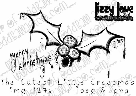 INSTANT DOWNLOAD Kawaii Creepy Cute Christmas Bat ~ The Cutest Little Creepmas No.276 by Lizzy Love