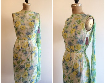 Vintage 1950's NOS Yellow Blue Chiffon Floral Formal Wiggle Dress 50's Wedding Party Dress Sash