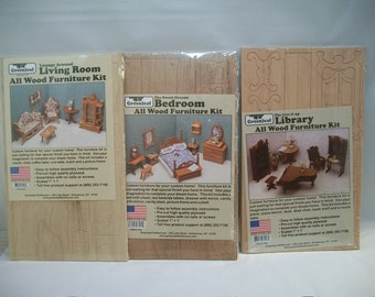 Set of Three Miniature Doll House Furniture Kits, Vintage Doll Furniture Kits, Greenleaf Wood Furniture Kits, Doll Crafts, Miniature Supply,
