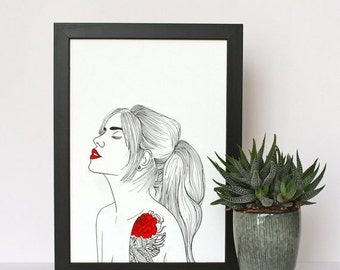 ON SALE Tattoo Girl Portrait Art Print