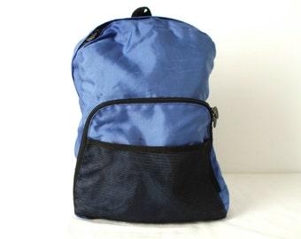 90s BACKPACK blue mountianeering daypack CLASSIC lightweight hiking biking bag
