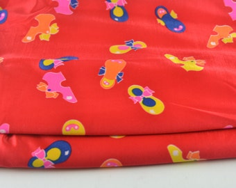 Vintage Bright Red Polyester Stretch Fabric 2 3/4 yards Tap Shoes