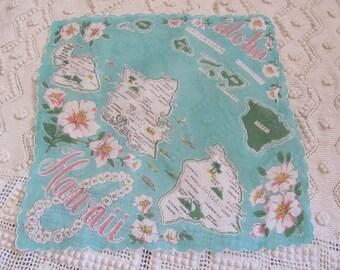 Vintage State Souvenir Map Collectible Cotton Hankie - Hawaii