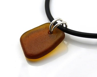 Amber Sea Glass Necklace On Rubber Necklace