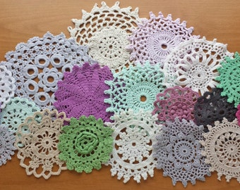 18 Vintage Crochet Doilies, Hand Dyed in Green and Purple with Neutral Colors
