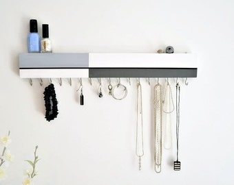Modern Jewelry Organizer Wall Mount -Jewelry Holder -  Abstract - Color Blocking Design