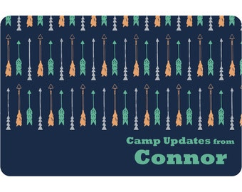 Drawn Arrows Postcard | Personalized Camp Stationery | Camp Stationery | Summer Camp Postcards | Kids Custom Postcards