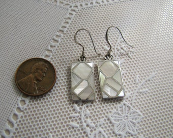 Inlaid Mother of Pearl Sterling Silver Earrings, abstract inlaid MOP Earrings