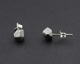 Faceted Stud Earrings: Oxidised Sterling Silver