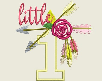 Little one with arrows embroidery designs - 4 and 5 Awesome Birthday Baby T shirt embroidery applique design