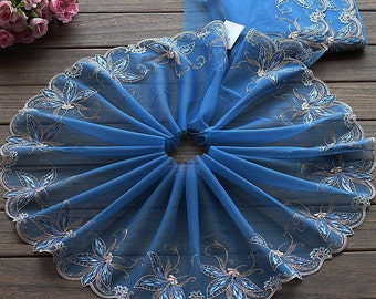 2 Yards Lace Trim Exquisite Flowers Embroidered Lakeblue Tulle Lace 9 Inches Wide High Quality