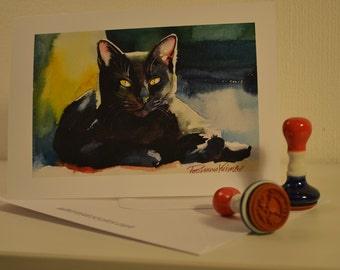 Black Cat Greeting Card 5x7 from my Original Watercolor Painting 4 Different cards