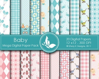 50% Off Baby Mega Paper Pack - 20 Printable Digital paper - 12 x12 - 300 DPI