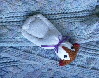 Puppy Dog Sock Doll Stuffed With Real Lavender Black Stone Eyes Red Heart Mouth