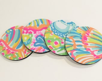 Lilly Pulitzer fabric coasters made with Lover's Coral