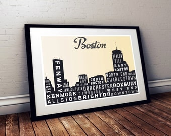 BOSTON Typographic Skyline Print, Typography Poster, Retro Wall Art,  Modern Home Decor, Wall Art, Holiday Gift