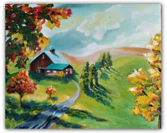 "Original Oil Painting - ""AUTUMN'S LIGHT""  Original Oil of tree, leaves, fall, farm, house, sky, Autumn signed by DanaC"