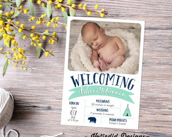 tribal teepee bear rustic chic baby boy birth announcements photo christening sip and see baby blessing item 440 shabby chic invitations