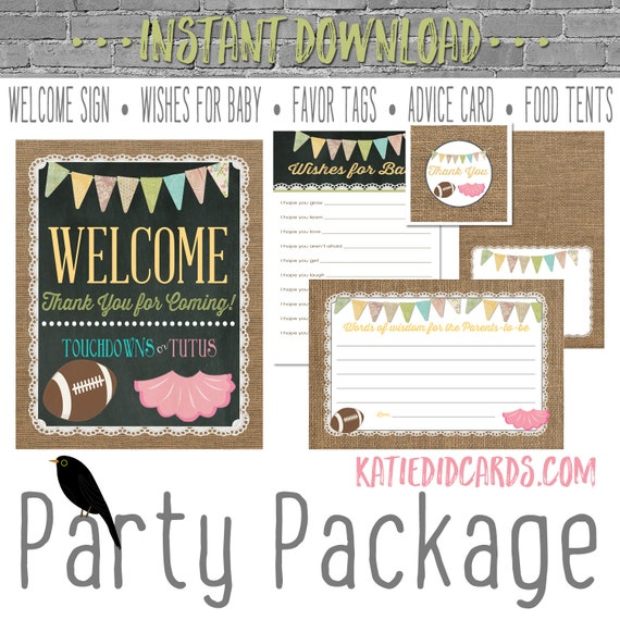 Touchdowns or Tutus 1431 5 item package AS IS Instant Download Welcome sign wishes for baby favor tag tent advice card burlap chalkboard