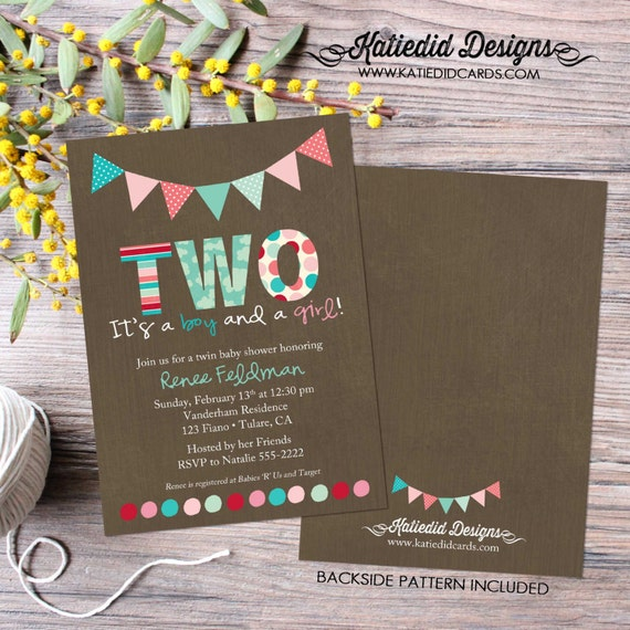 twin baby shower invitation polka dots bunting banner rainbow sip and see baby sprinkle birthday diaper (item 1515) shabby chic invitations