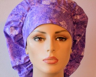 Scrub Hats Tossed Butterflies in Purple and Pink Surgical Bouffant Scrub Hat with a Matching Headband Made in USA