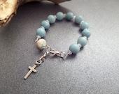 Blue Rosary Bracelet with Scottish Iona Marble with Blue Stone Beads Catholic Jewelry, Chaplet, Pocket Rosary