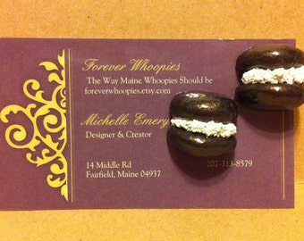 Whoopie Pie Clip On Earrings, Maine, Maine Treat, Gift, Jewelry
