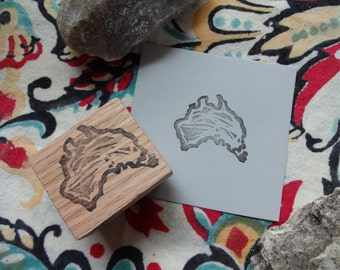 Abstract Australia Hand Carved Rubber Stamp, Down Under, Paper Craft, Country Stamp, Custom, Aussie, Scrap Booking, Invitations, Stationary