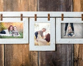"""2"""" Barnwood Collage White Frame 3) 8x10 Multi Opening Frame-Rustic Picture Frames-Reclaimed-Cottage Chic-Collage Frame"""
