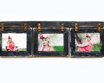 Barnwood Collage Frame 3 hole 4x6 Multi Opening Frame-Rustic Picture Frame-Reclaimed-Landscape or Portrait-Collage Frame